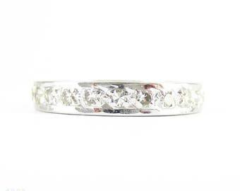 Vintage Diamond Eternity Ring, Full Hoop Diamond Wedding Band. Mid 20th Century, 18 Carat White Gold. Size L.5 / 6.