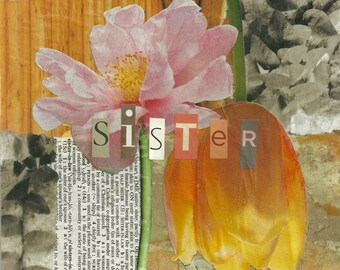 Sister Blooms art tile. Coaster. Contemporary. Mother's Day gift.