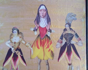 Original Narrative Collage Art on Canvas, Original Altered Art Paper Collage, Renaissane Tulip Ladies, Unique Home Decor,