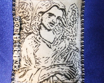 Tiny Art Quilt ATC Doctor Who Inspired Weeping Angel with a Harp Letter Beads read DON'T BLINK