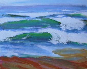 Coast Drama 2 Twin Waves original en plein air Oregon Coast landscape oil painting
