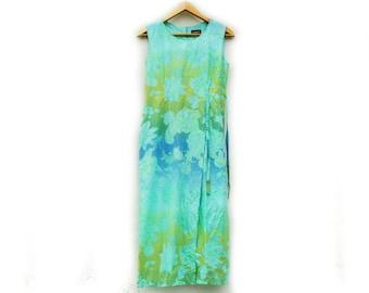 Vintage 90s Gardenia Paris Floral Print Maxi Dress/Tie Dye/High Fashion /Hippie/ Boho /Beach