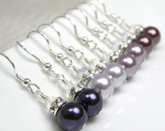 Custom Bridesmaid Earrings, Pearl Wedding Jewelry, Purple Pearl Earrings, Wine Bridesmaids Gifts, Bridal Earrings, Purple Choose Color Qty 1
