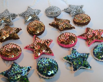 Sequin Star and Circle bauble's, Set of four