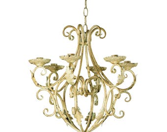Royalty Outdoor Wrought Iron Chandelier - Hanging Candle Holder