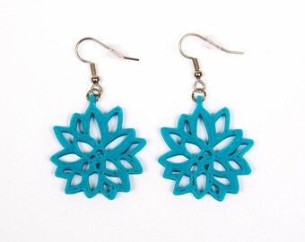 Teal Succulent Design Earring
