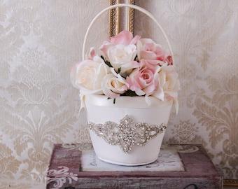 Rhinestone Flower Girl Basket, Flower Girl Baskets, White or Ivory Flower Basket, Rhinestone Wedding Basket