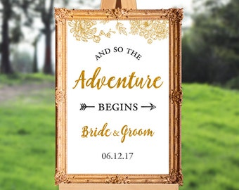 Wedding welcome sign - and so the adventure begins - PRINTABLE - 16x20 - 18x24 - 20x30 - 24x36