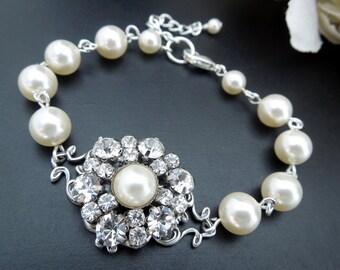 bridal bracelet rhinestone bracelet pearl and crystal Bracelet Statement Bridal Bracelet Bridal Cuff Wedding Rhinestone Bracelet  EUGENIE