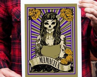 Day of the Dead Art, Tattoo Art Print, Rockabilly, Wall decor, Gothic Art, Mexican Art, Rock and Roll, Unusual Gift, Mamacita