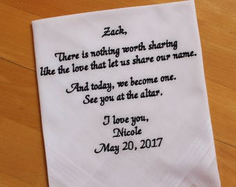 GROOM handkerchief from the Bride-Hankerchief-Wedding Handkerchief-EMBROIDERED-CUSTOMIZED-Wedding hankies-Groom Wedding Gift-MS1F23