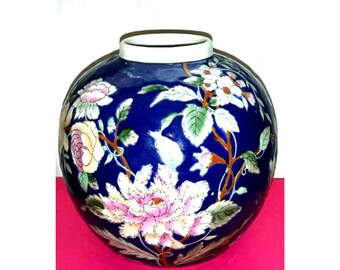 Vintage Chinoiserie Vase,Ball Vase,Blue Floral Vase,Hollywood Regency,Asian Vase,Blue,Floral Vase,Chinoiserie,Flowers,Ginger Jar,Urn Vase