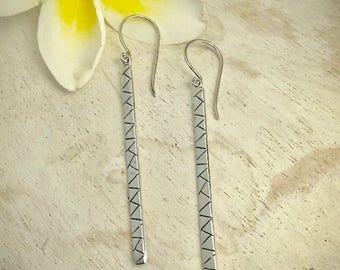 Drop earrings, Bar earrings, dangle earrings, long bar earrings silver drop earrings, silver bar earrings, zigzag earrings, gifts for her