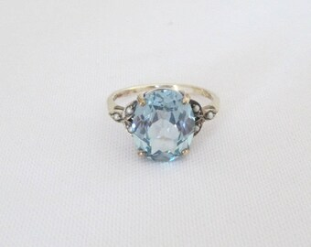 Vintage Sterling Silver Aquamarine & Seed Pearl Ring Size 6