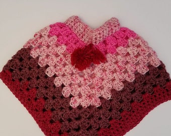 crochet Baby girl poncho/raspberry color/handmade little girl poncho/3month size fall accessory sweater/granny square/v neck poncho
