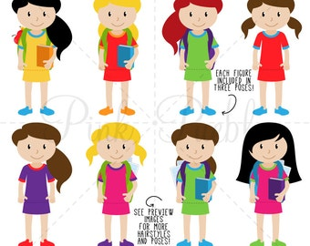 Huge Pack of Female Student Clipart Clip Art, Classroom Clipart, Teacher Clipart - Commercial and Personal Use
