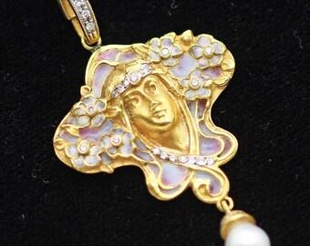 Antique Art Nouveau Pendant Plique-à-jour  Enamel Diamonds Pearl Gold (#5656)