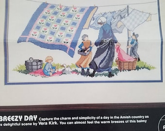 Vintage counted cross stitch pattern Amish breezy day designed Vera Kirk