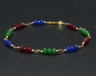 New 14K Solid Gold Natural 4mm. HAND MADE Emerald ruby sapphire Beaded bracelet