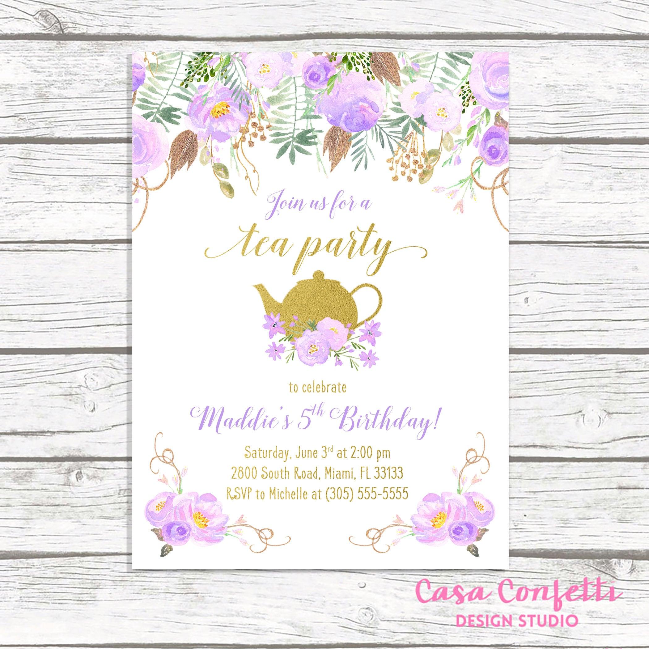 Tea Party Birthday Invitation, Tea Party Invitation, Lavender ...