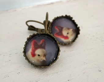 Fox Earrings Antique Bronze Chicken in Needle Felted Fox Ears Baby Animal Jewelry Chicks in Hats