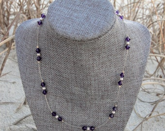 Deep Purple swarovski crystal element necklace