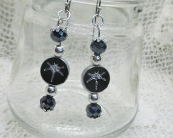 """Dazzling """"Stay Chic"""" Black and Silver with Dragonfly and Black and Silver Bead Earrings - Gift for Her Women - Earrings for Her Teen Teacher"""