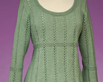 PDF Knitting Pattern Top-Down Empire Waist Pullover #172