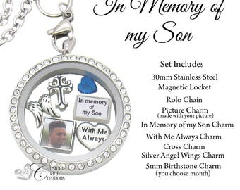 In Memory of My Son • Memorial Floating Locket Necklace & Charm Set • Sympathy Gift • With Me Always - SET258