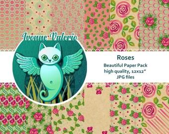 Roses. Digital Paper Pack. Instant Download,