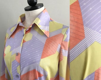 1970s Ladies Disco Shirt. Size Large. 70s Disco Clothing. 70s Ladies Shirt. Chevron. That 70s Show. Mary Tyler Moore. Ladies 70s Clothing.