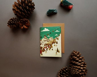 Skiing Christmas Illustration Greeting Card Set