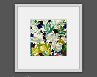Printable Abstract Art, Instant Digital Download Art, Modern Wall Decor, Contemporary Art, Abstract Flower Painting, Square Art