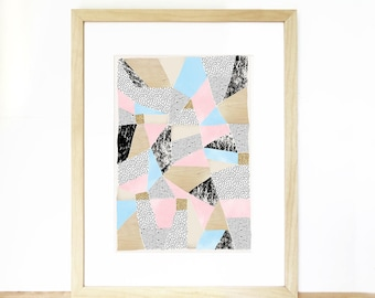 A3 Abstract Instant Digital Download, Modern art with Triangles, Geometric shapes, Pastels, Stars, Sprinkle & Photo of Glitter/ Wood