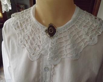 Vintage Crocheted White Collar Civil War Collar Reenacting Collar