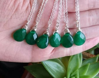 Emerald green faceted crystal necklace
