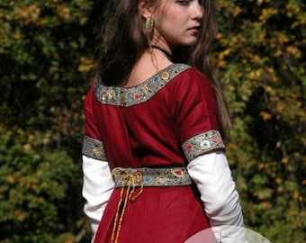 Medieval Franks Red Dress and Underdress (Chemise) Garb with Belt