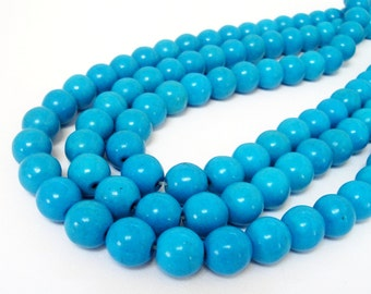"""Blue Turquoise Round Beads - Cyan Blue - Center Drilled Howlite - Smooth Round Ball Stone - 10mm - 16"""" strand - DIY Summer Necklace Beads"""