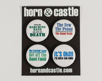 Four Funny Marching Band One Inch Size Pinback Buttons or Magnets - MUS 1