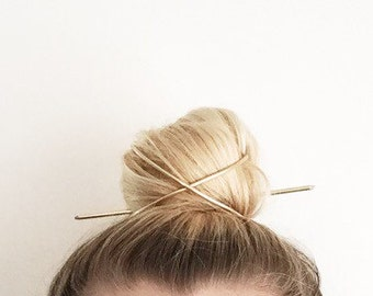 Bun Cage - Brass Top Knot Cage and Pin, Copper Top Knot Cage and Pin
