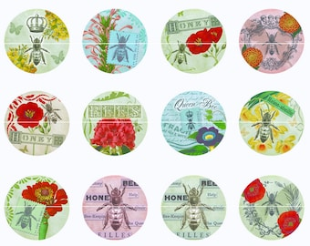 """1"""" Inch Save the Bees Pins, Flat Back Buttons or Magnets 12 Ct."""