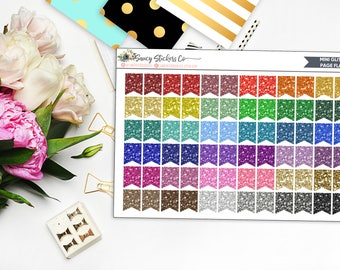 72 Glitter Mini Page Flags | for use with Erin Condren Lifeplanner™, Happy Planner