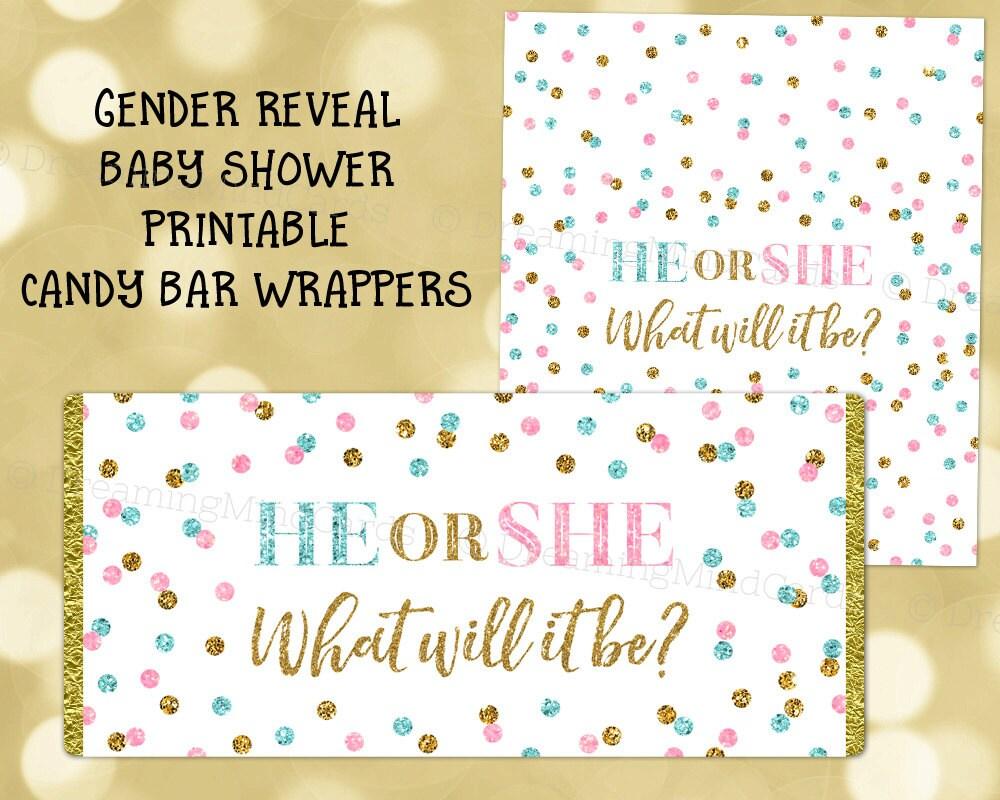Printable Candy Bar Wrapper Gender Reveal Baby Shower Gold