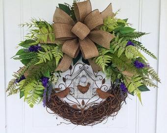 Everyday Wreath, Summer Wreath, Farmhouse  Wreath, Grapevine Floral Wreath, Rustic Wreath, Birdhouse Wreath, Front Door Wreath