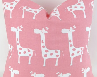 Pink Giraffe Pillow Cover -MANY SIZES- White Baby Stretch Zoo Premier Prints - cushion throw couch euro sham decorative nursery 28 22 18 20
