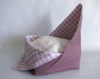 Lunch bag, Azuma bag, Bento bag- Purple and cream houndstooth - Small