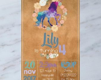 Personalised  UNICORN Birthday Party Invitation DIGITAL You Print