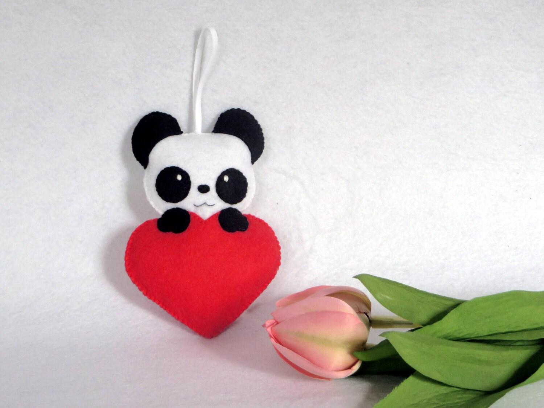 panda en feutrine coeur feutrine f te des m res fete des. Black Bedroom Furniture Sets. Home Design Ideas
