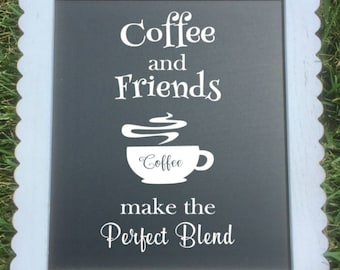 "Decorative Kitchen Chalkboard with Easel/""Coffee and Friends make the Perfect Blend"""