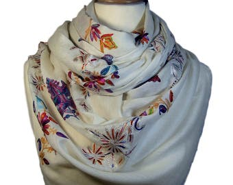 White Cashmere Pashmina Scarf with multicolor embroidery from Designer Kashmir   Gifts for her   handmade pashmina   oversized scarf